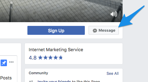 """Facebook Page """"Message"""" button"""
