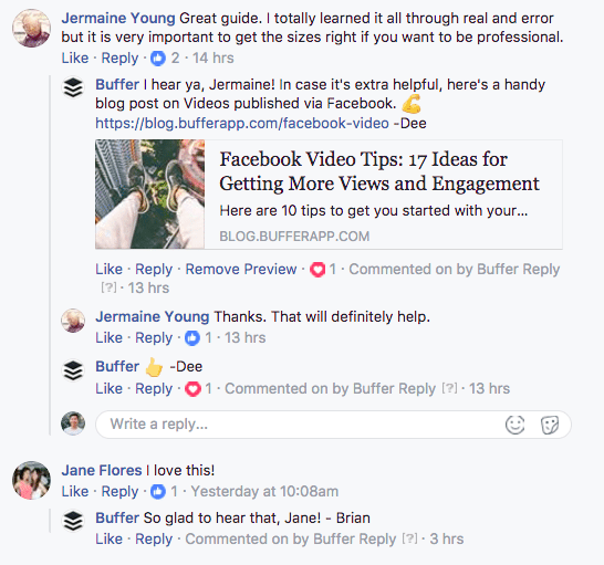 Replies on our Facebook post