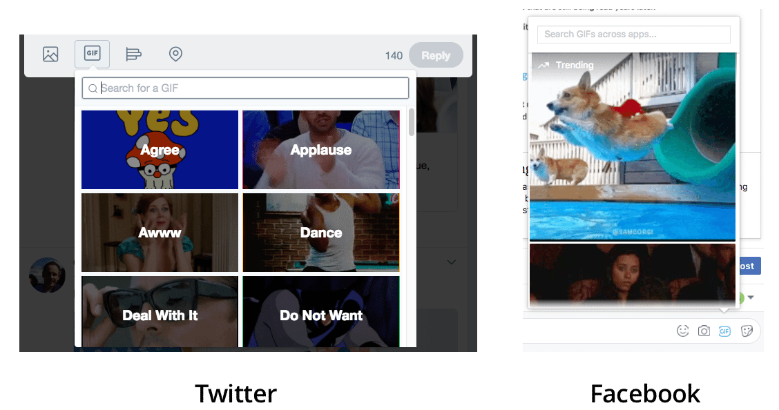 Twitter and Facebook GIF button