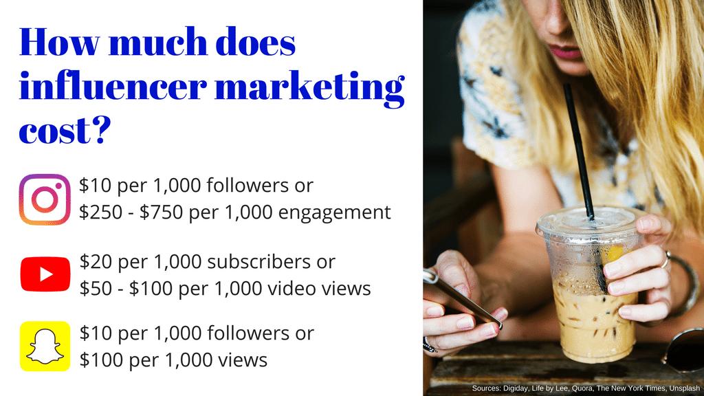 Influencer marketing cost summary