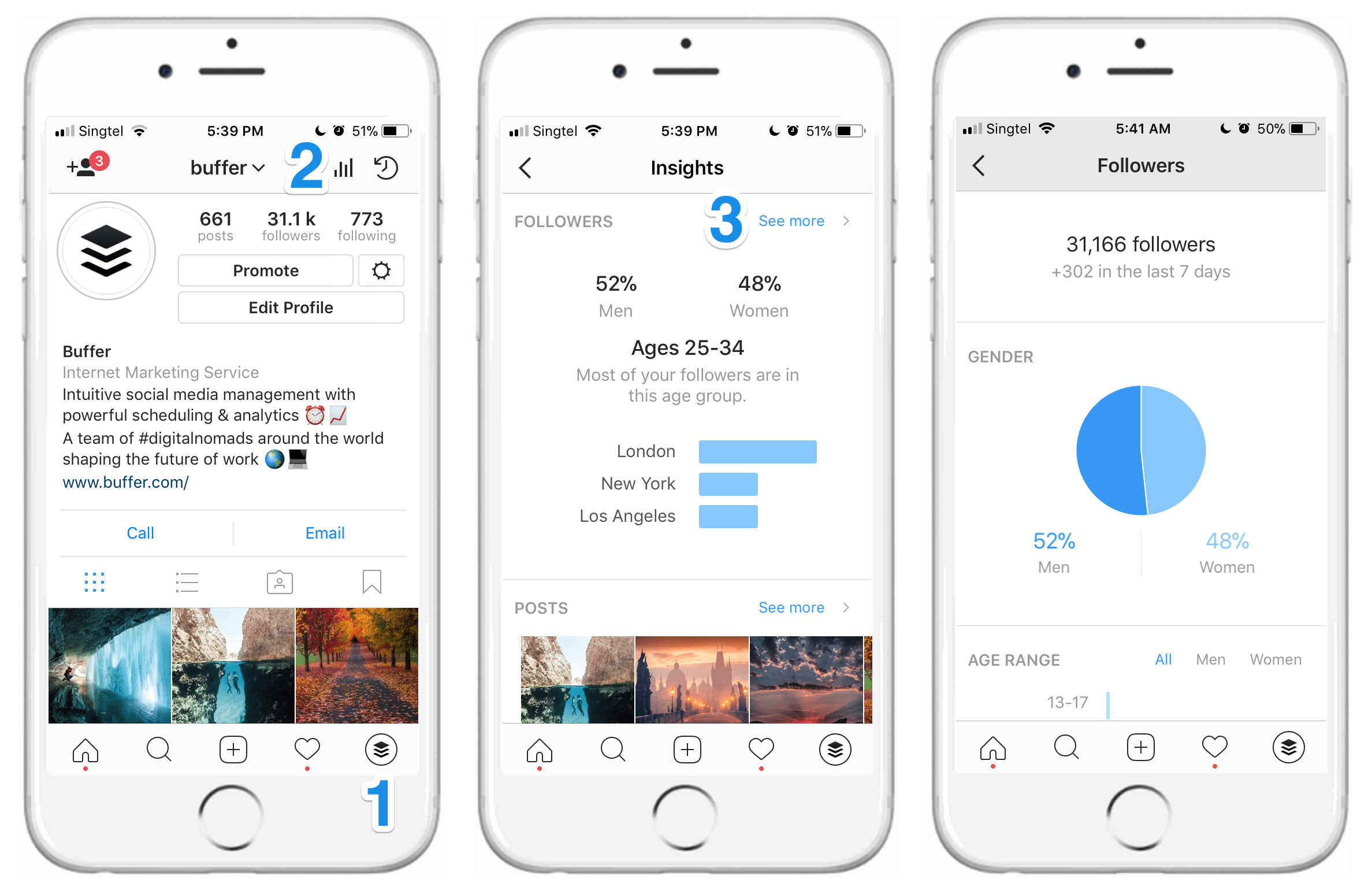 Navigating to Instagram Insights - Followers