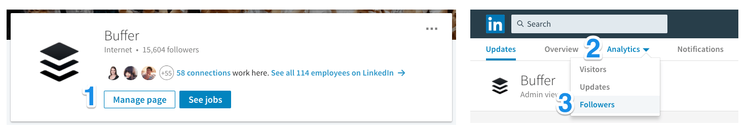 Navigating to LinkedIn analytics - Followers
