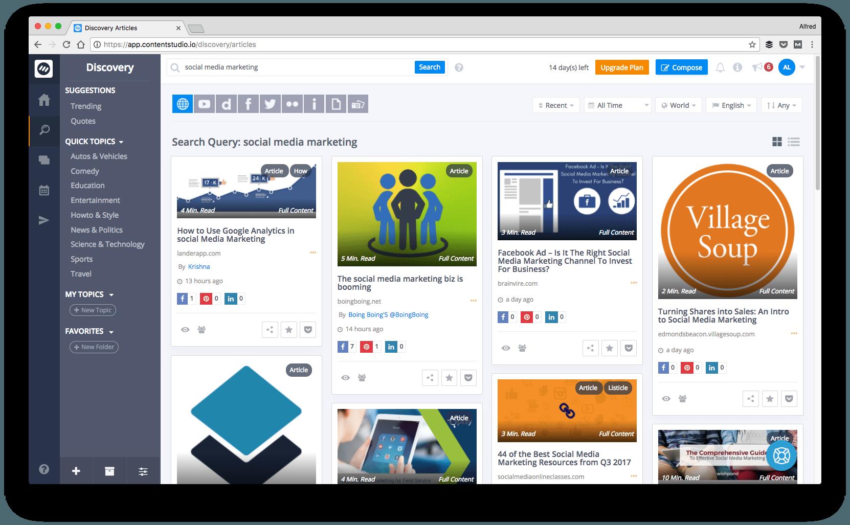 Social media tool 2018: ContentStudio