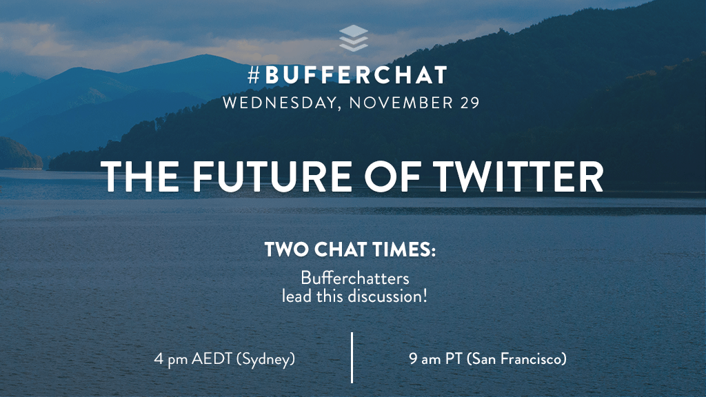 Bufferchat on November 29, 2017: The Future of Twitter