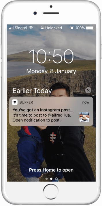 Buffer for Instagram notifications