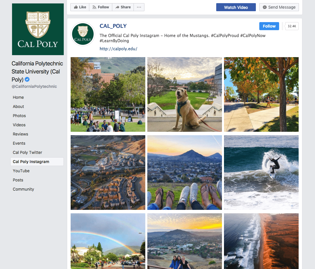 Cal Poly Facebook Instagram Feed