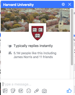 Harvard University Facebook Messenger