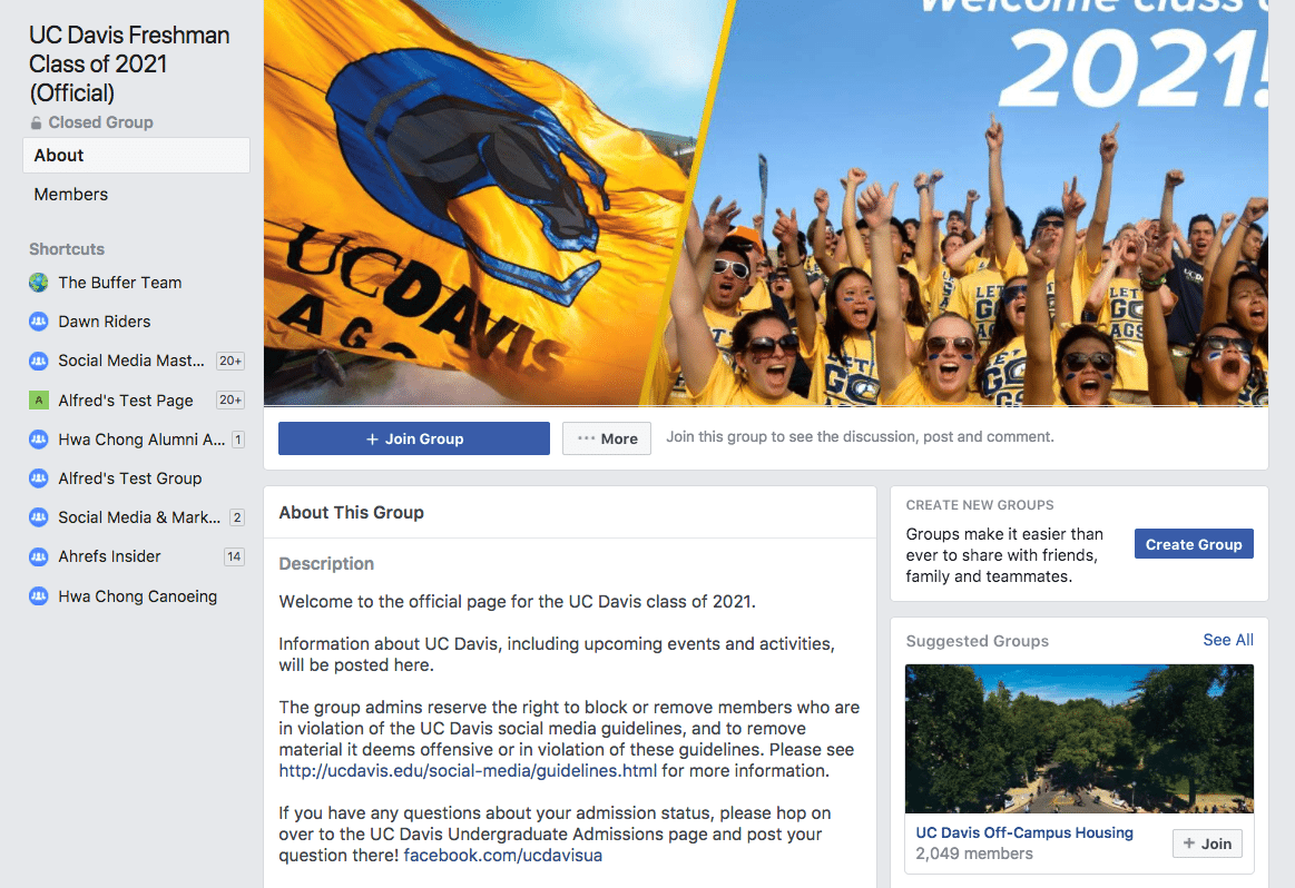 UC Davis Freshman Facebook Group