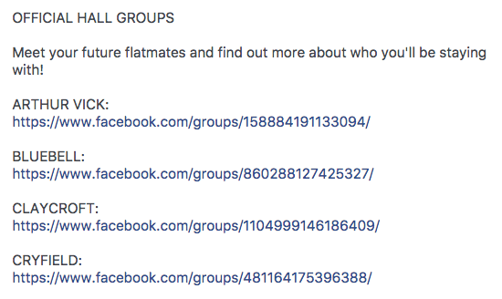 University of Warwick Hall Facebook Groups