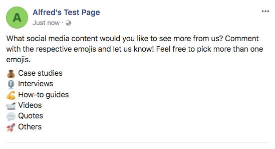 Facebook emoji poll