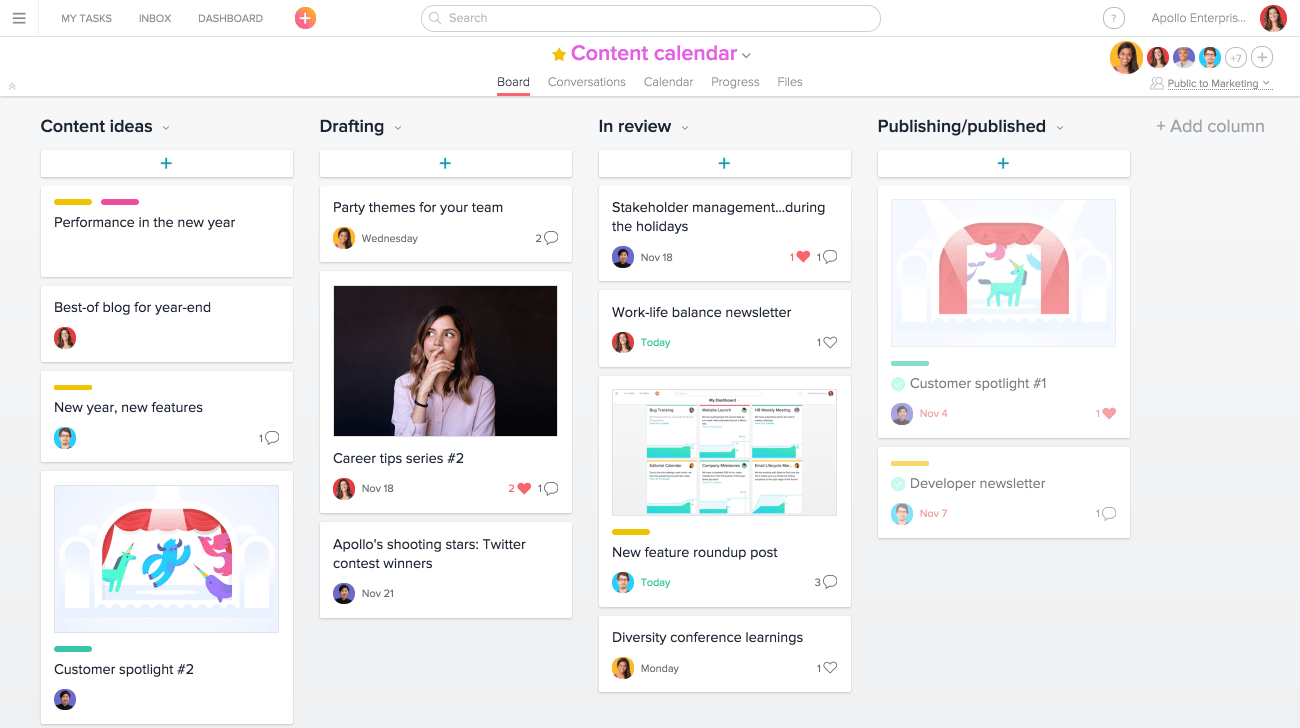 Asana Dashboard - 7 Invaluable Marketing Skills