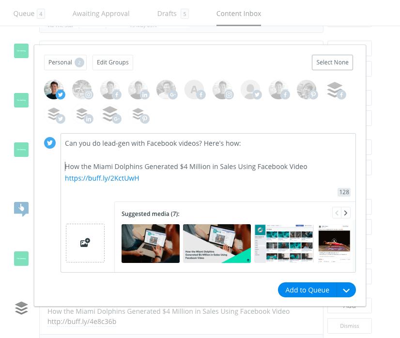 Buffer Content Inbox: Add post