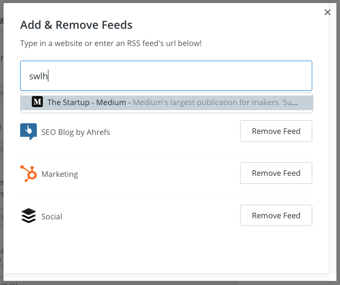 Buffer Content Inbox: Add and remove feeds
