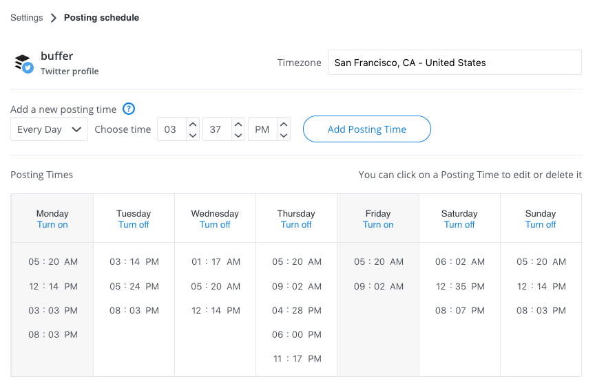 Buffer custom posting schedule