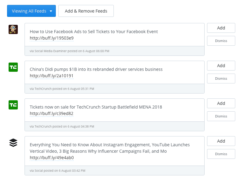 Buffer RSS Feed Preview