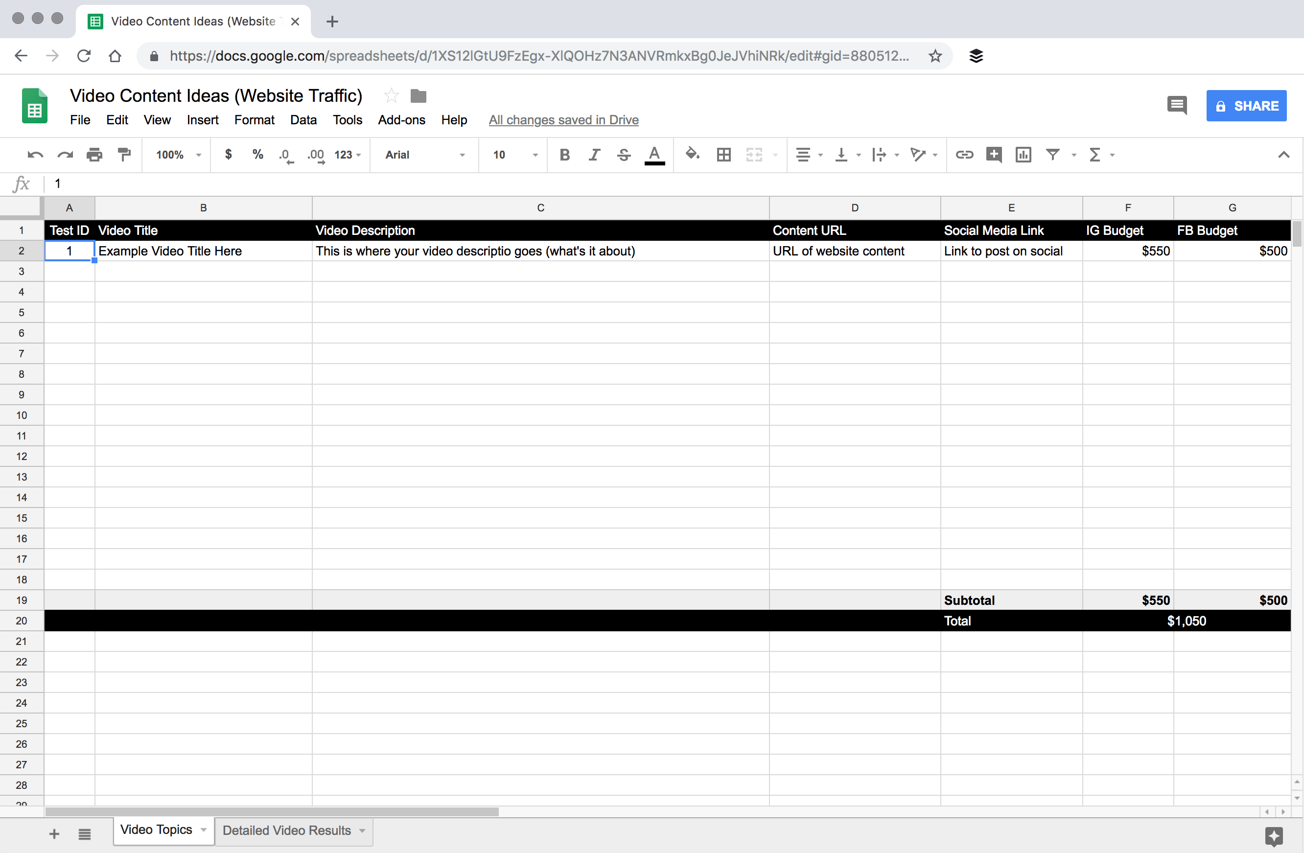 Video Topic Tracking Spreadsheet