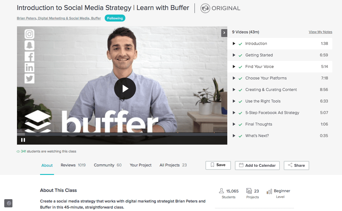 Buffer Skillshare Class and Marketing Ideas
