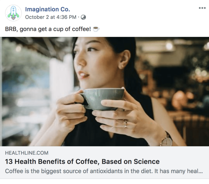 Facebook link post example