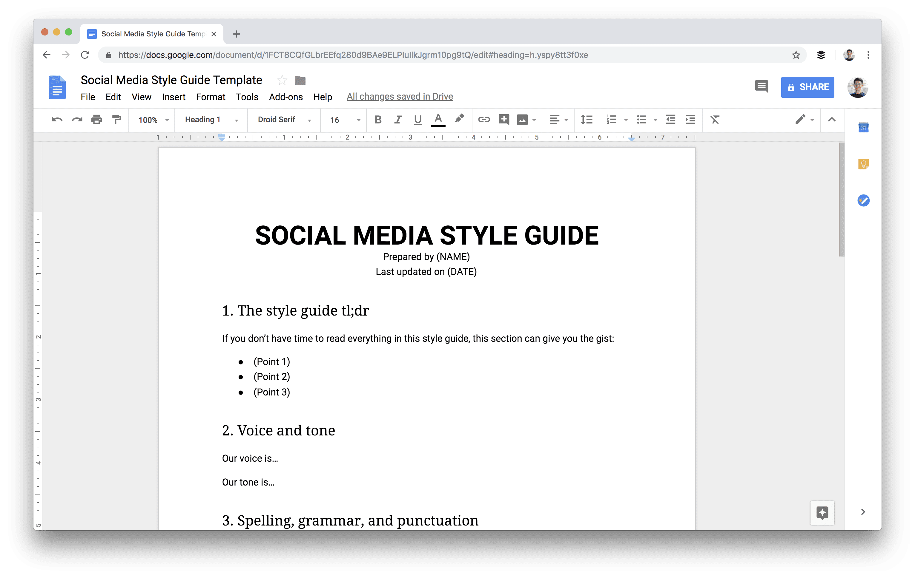 Social media style guide template
