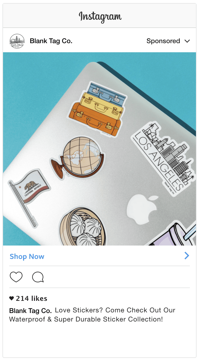 Blank Tag Co. Instagram ad