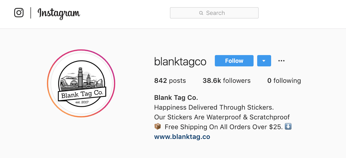 Blank Tag Co. Instagram