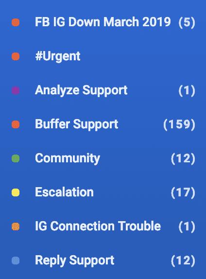 list of folders in Buffer Reply for social media engagement