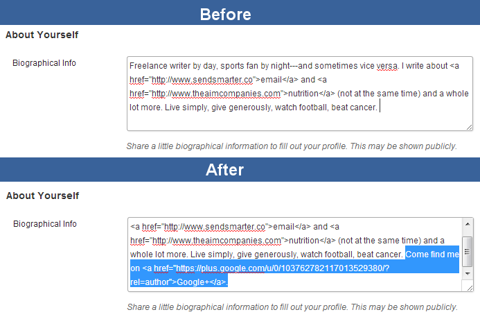 WordPress bio change