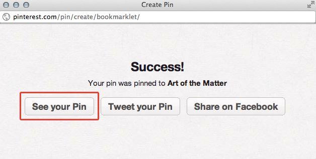 Pinterest Success Message