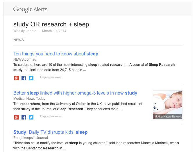 google alerts email