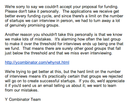 Y Combinator rejection letter