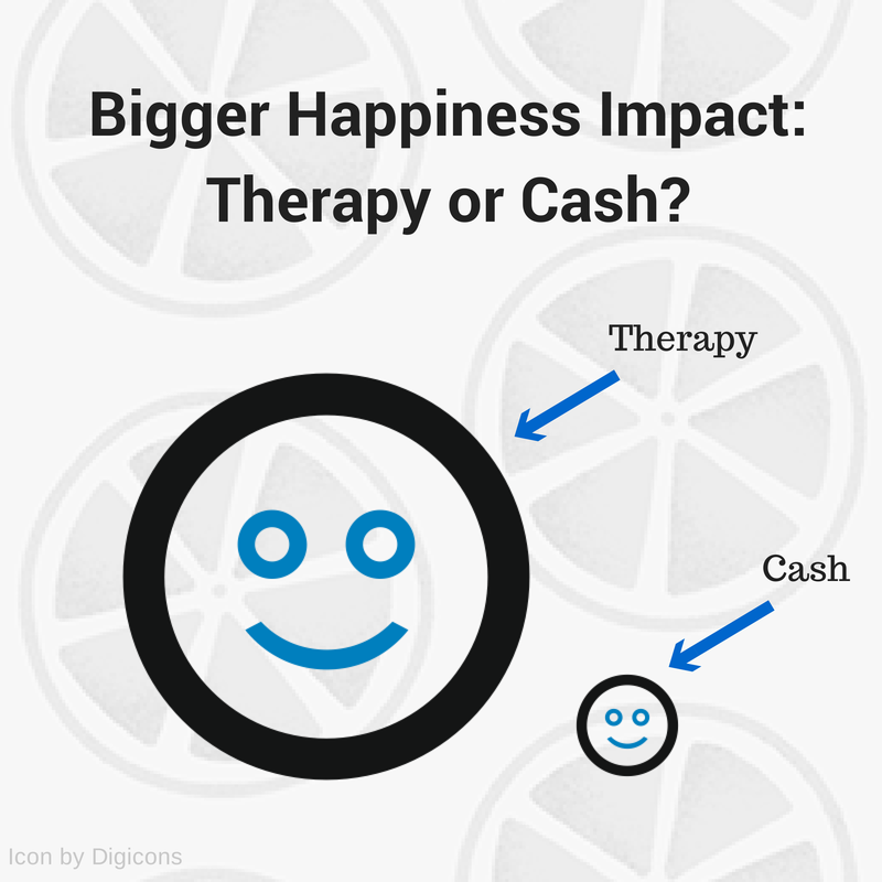 Bigger happiness impact- Therapy or cash