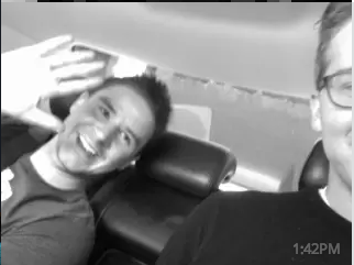 Joel and Leo on a plane