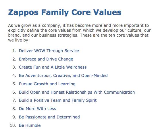 Zappos core values