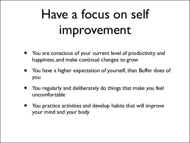 Buffer value 3: self-improvement