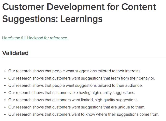 customer interview validations