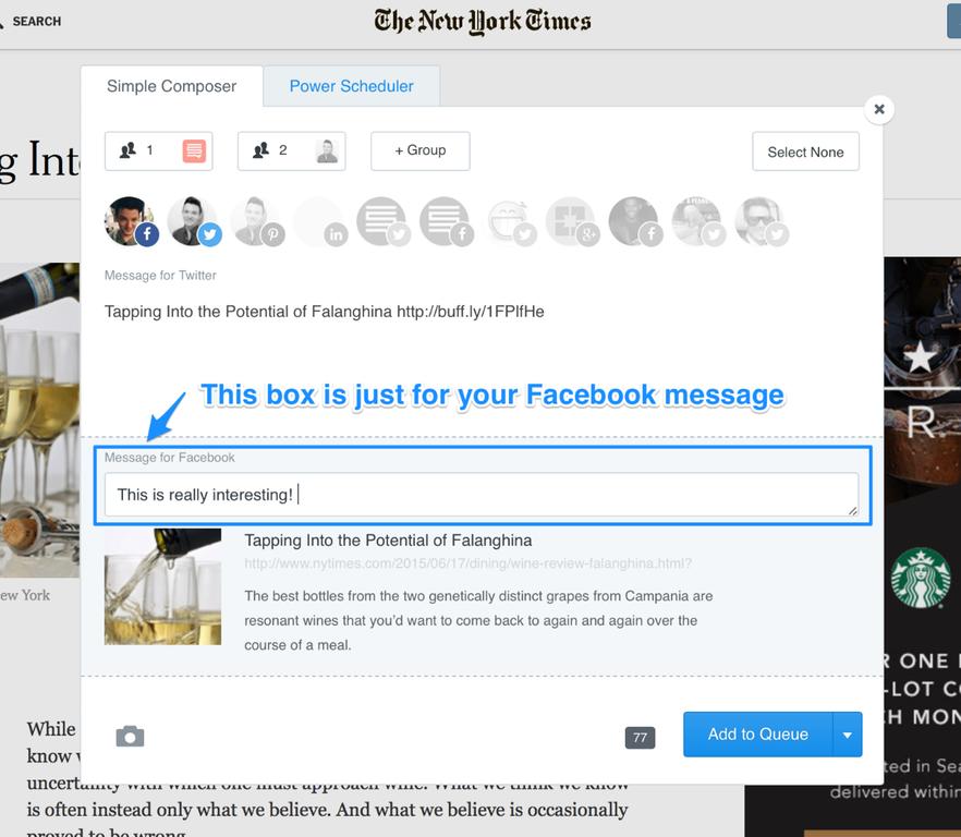 Facebook compose box