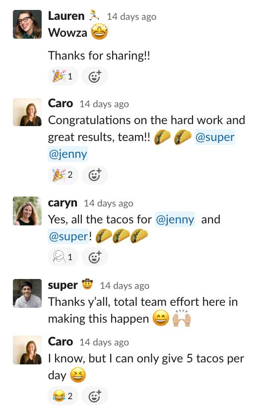 giving tacos in Slack
