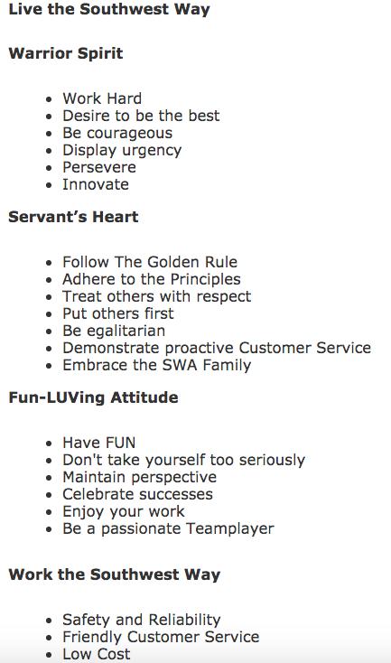 Southwest values