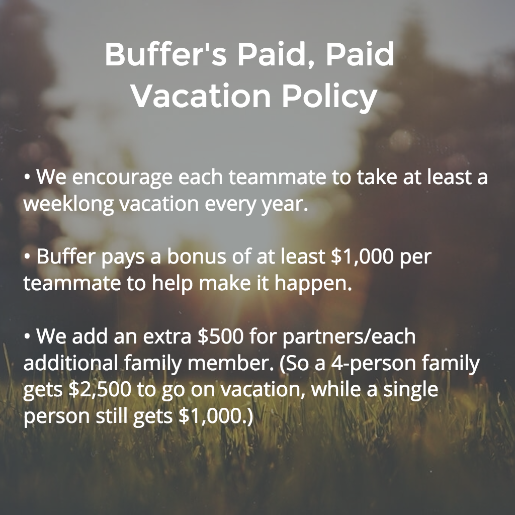 Buffer vacation policy