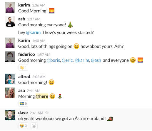 morning greetings on slack