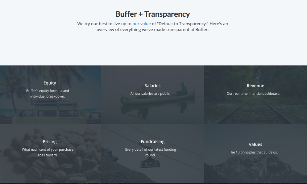 Transparency dashboard