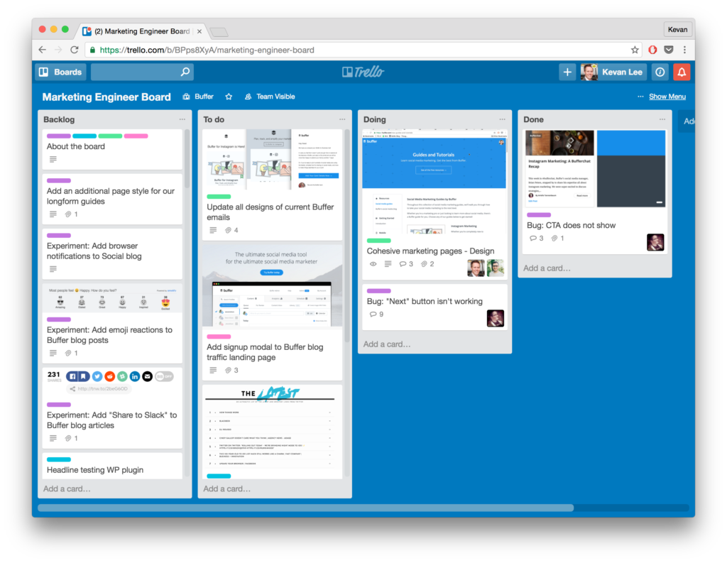 Marketing Engineer Trello board