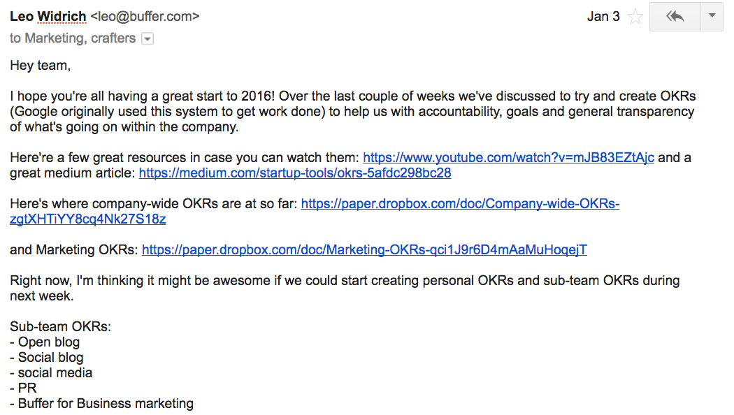 OKRs email