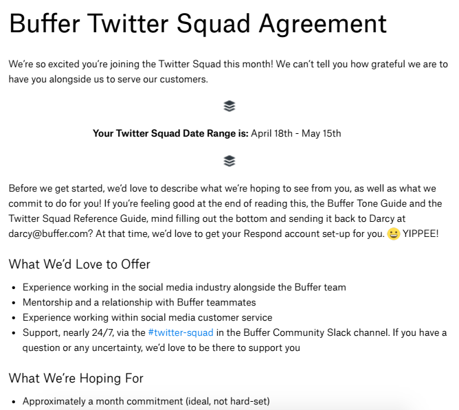 Twitter squad agreement