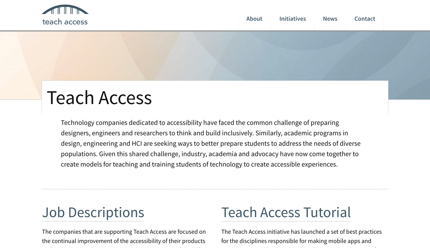 Teach Access website homepage