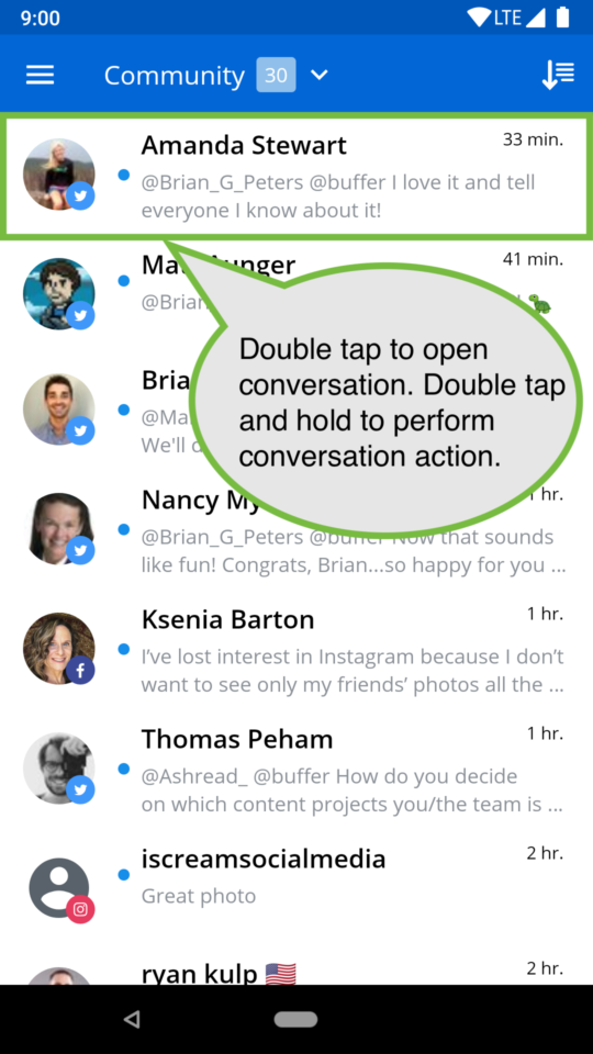 "screen showing text ""double tap to open conversation. double press and hold to perform conversation action"""