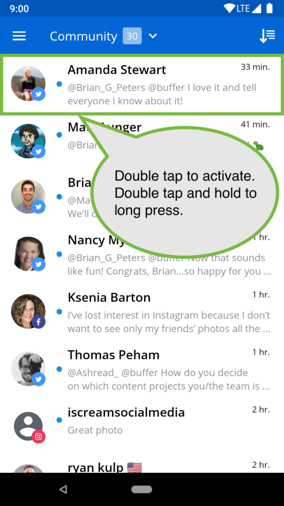 "Screen with text ""double tap to activate, double tap and hold to long press"""