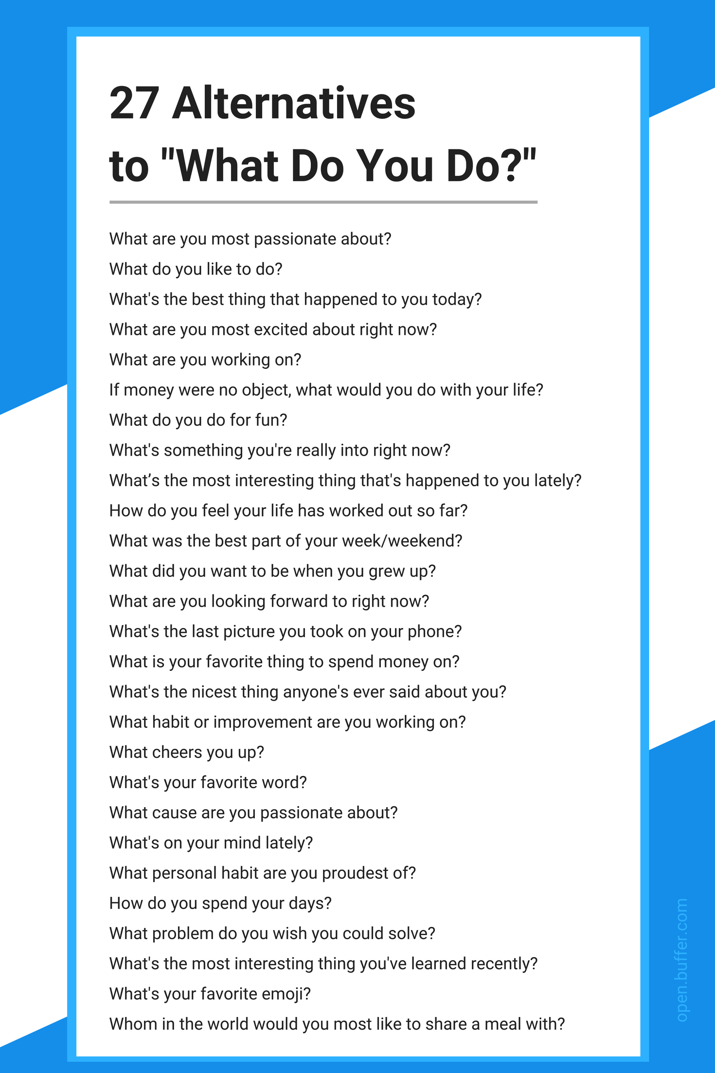 """27 Questions to Ask Instead of """"What Do You Do?"""""""