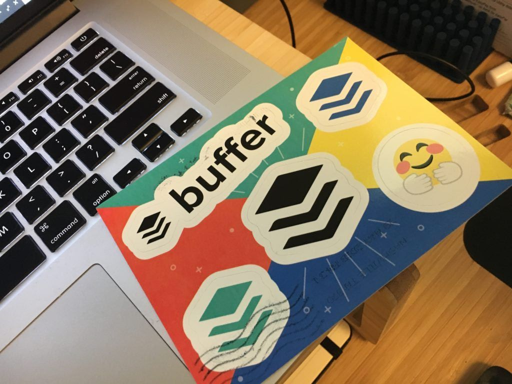 Buffer stickers postcard