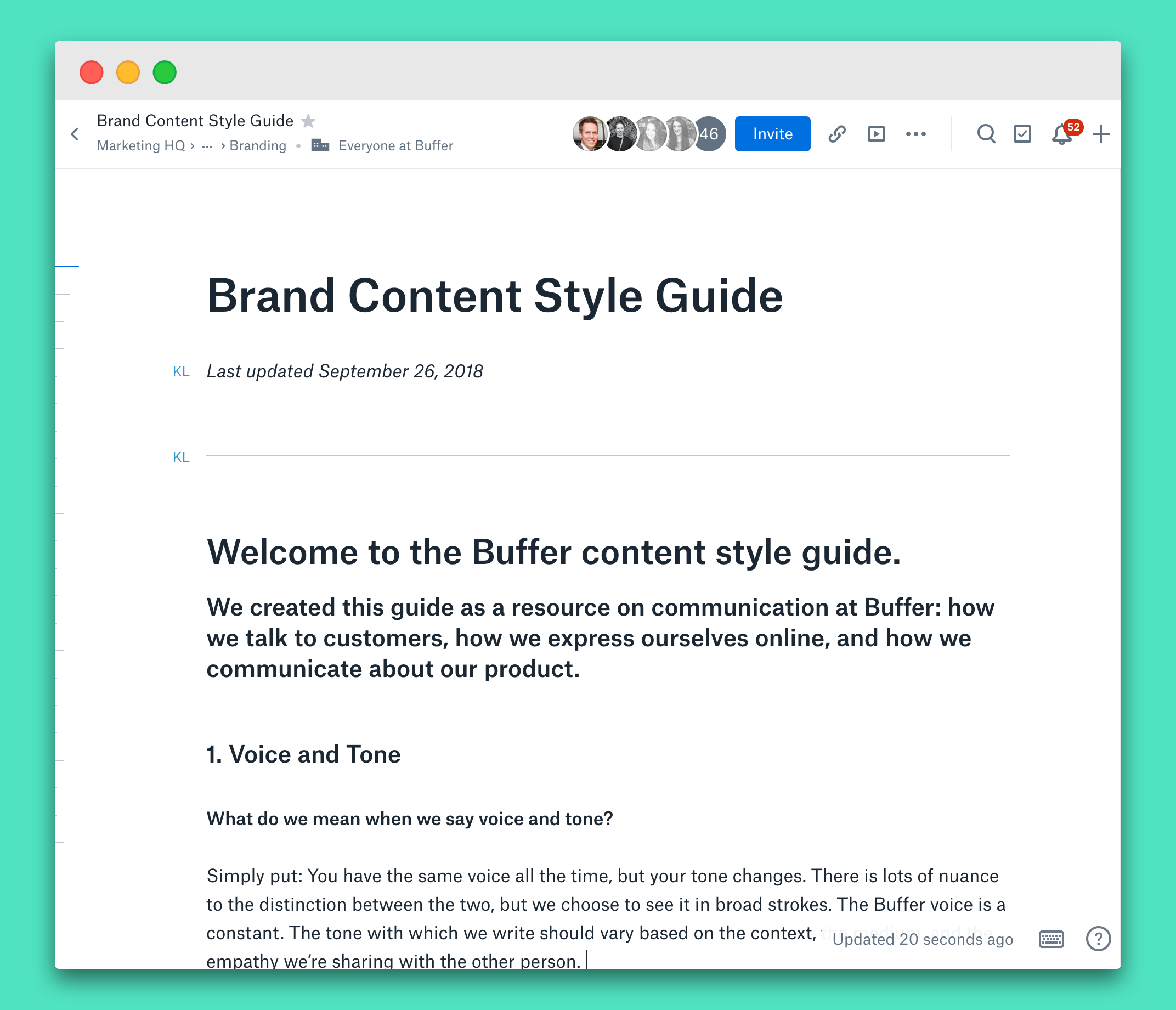 content style guide for a brand